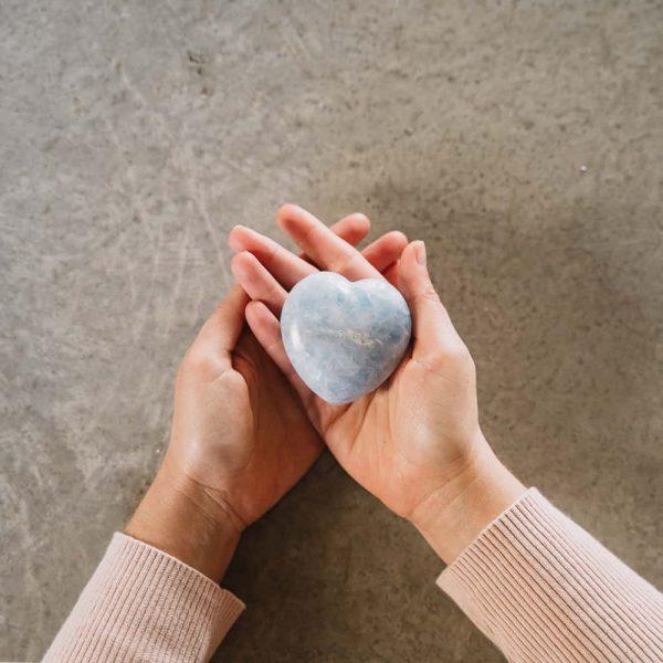 corazón calcita azul